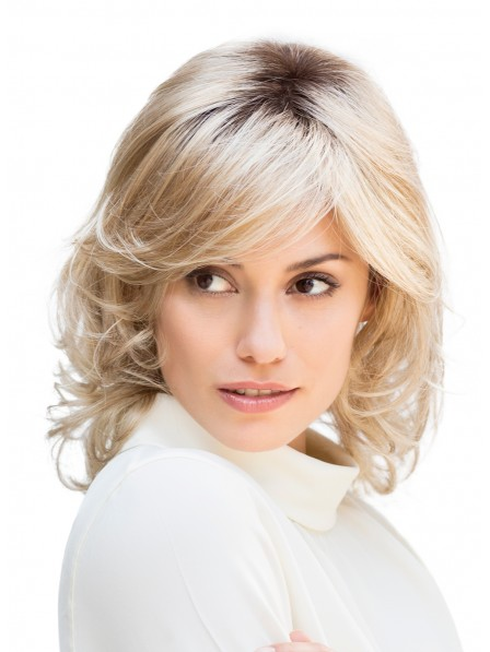 Classic Mid-Length Short Natural Blonde Synthetic Hair Wig