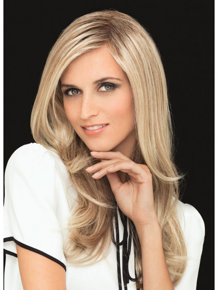 Long Wavy Blonde Human Hair Lace Front Women Wig