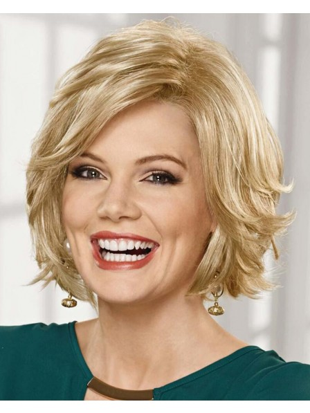 Mid-Length Bob Wig With A Lace Front And A Wealth Of Feathery Layers