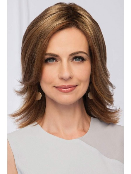 Shoulder Length Natural Straight Layered Cut Synthetic Wig