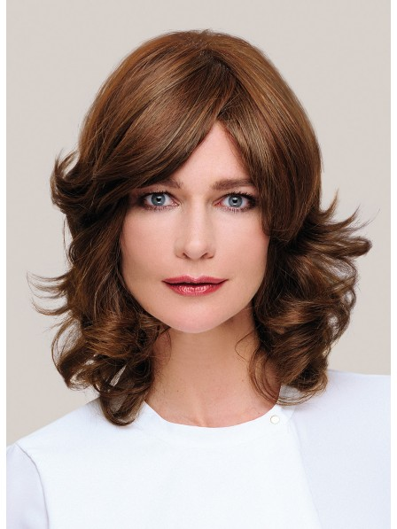 Shoulder Length Natural Wavy Capless Synthetic Hair Wig