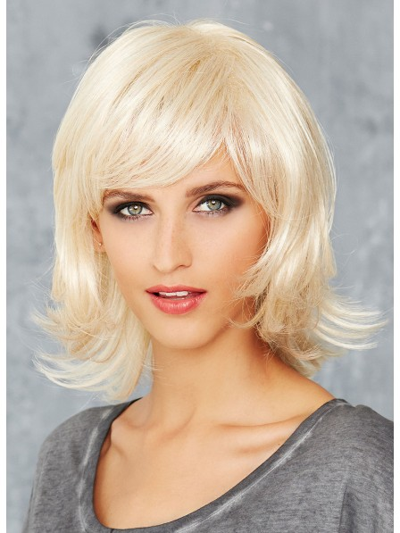 Shoulder Length Platinum Blonde Natural Straight Wig With Bangs