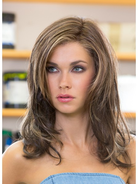 Shoulder Length Straight Layered Human Hair Lace Front Wig
