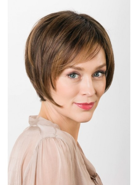 Cute Short Straight Women Lace Front Mono Top Wig