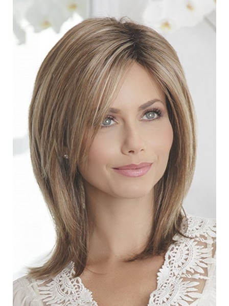 Lace Front Mono Top Dark Blonde Ladies Medium Layered Wig