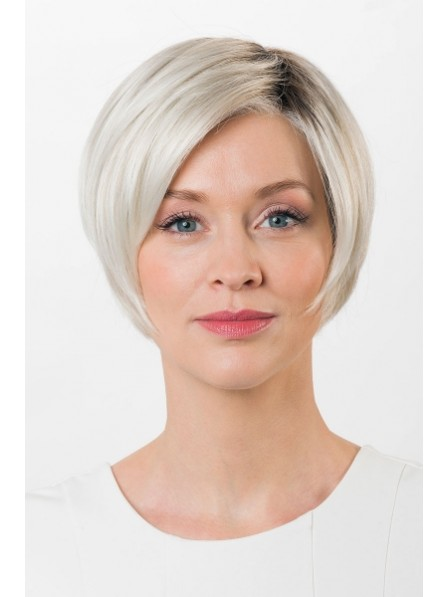 Lace Front Mono Top Short Straight Platinum Blonde Wig