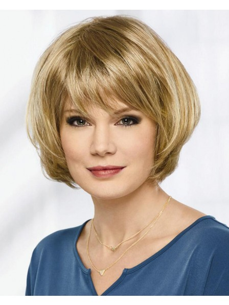 Short Angled Bob Wig With Feathery Layers