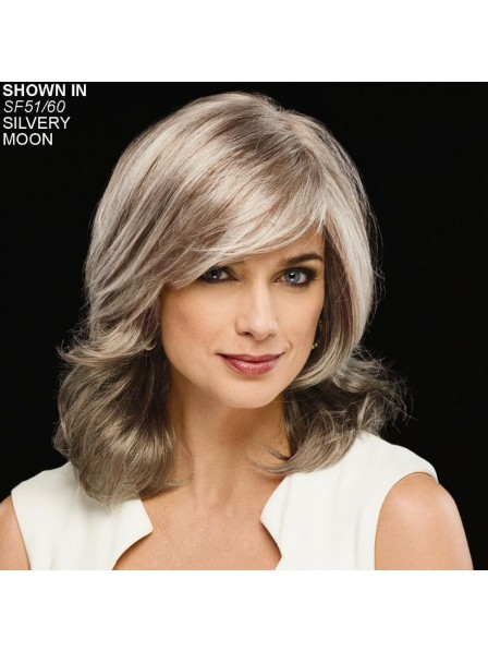 Silver Color Ladies Medium Synthetic Hair Wig
