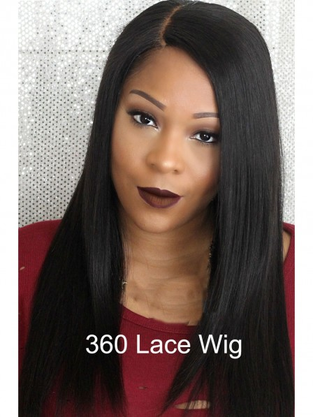 360 lace front straight silky black human hair wigs