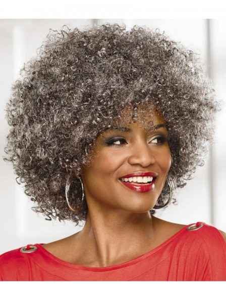Big Afro Old Women S Capless Grey Hairstyle