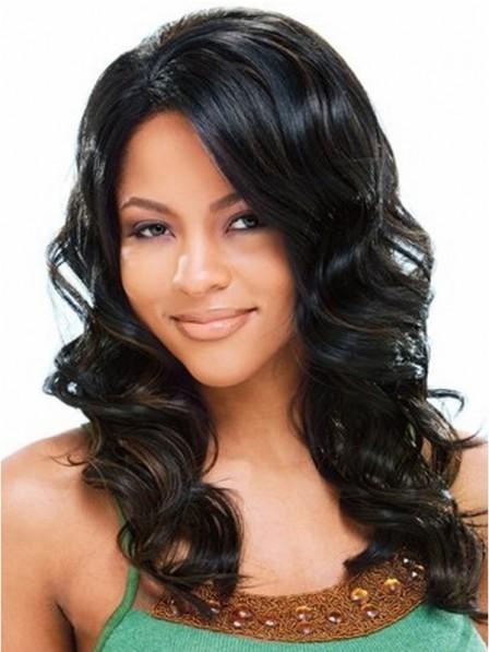 Black color deep wavy medium human hair wigs for black women