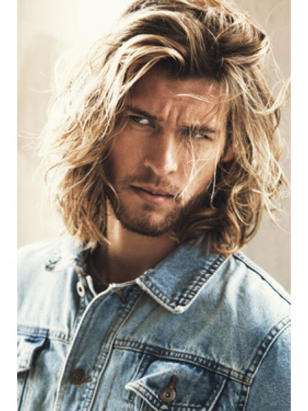 Blonde Men S Wavy Long Hair Wigs Capless New Style