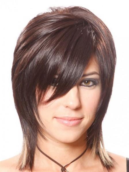 Capless Human Hair Celebrity Short Layered Wigs