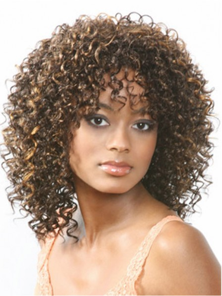 Charming Brown Curly Capless Medium Synthetic Hair Wig With Bangs