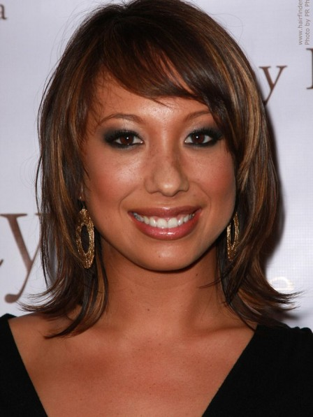 Cheryl Burke Layered Haircut Wig with an Outward Curve