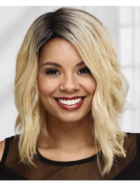 Chic Angled Wavy Bob Wig With Shoulder-Length Layers In A Rich Human Hair Blend