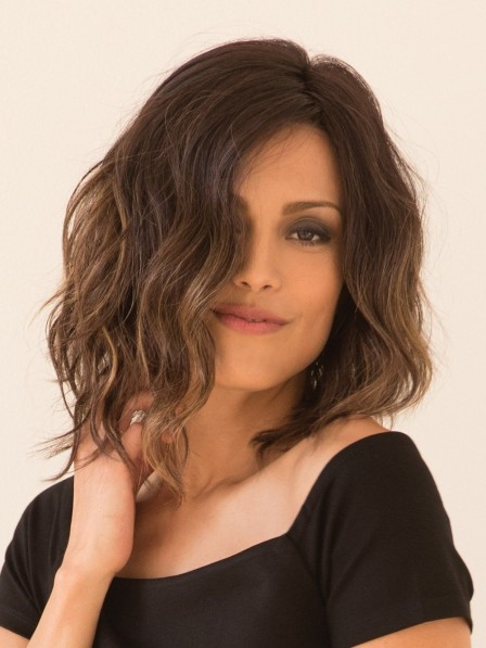 Chin-length Wavy Bob Cut Lace Front Wig
