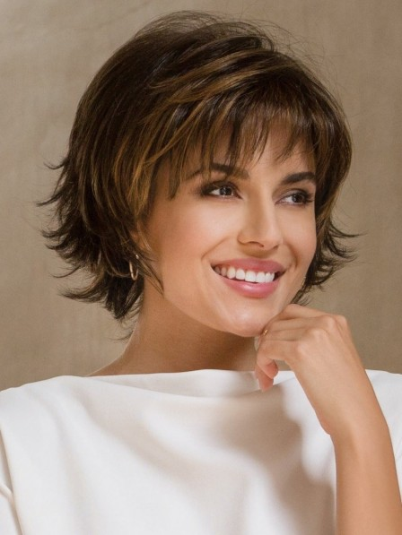 Cute Synthetic Short Brown Wavy Hair Wigs With Bangs Best Wigs Online Sale Rewigs Com