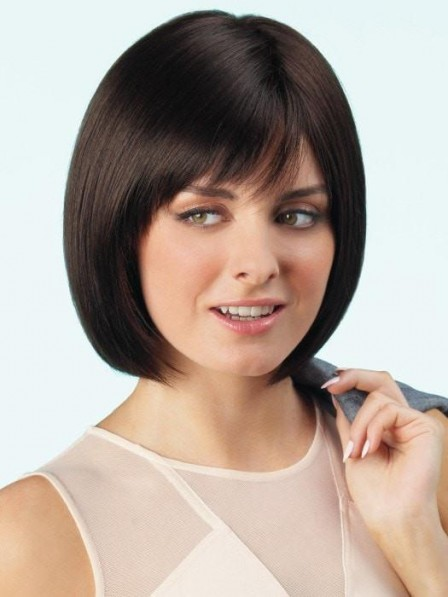 Dark Brown Smooth Bob Lace Front Wig with Natural Hairline