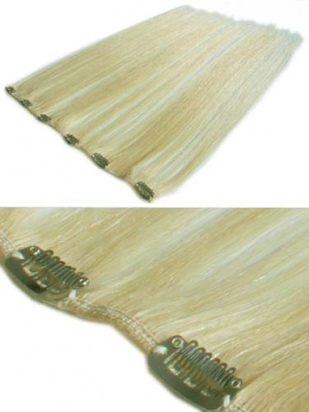 """12"""" Straight Blonde 100% Human Hair Clip In Hair Extensions"""
