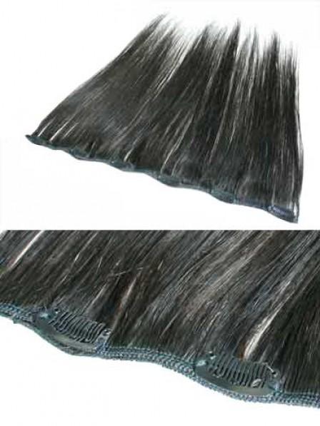 "12"" Straight Black 100% Human Hair Clip In Hair Extensions"
