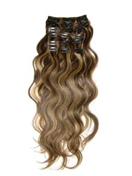 "12"" Wavy Brown 100% Human Hair Clip In Hair Extensions"