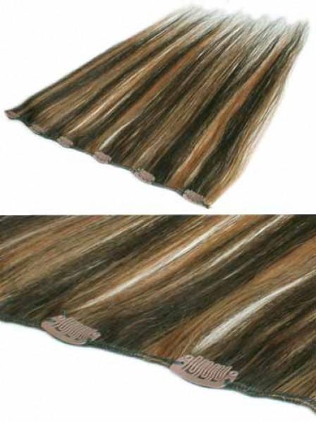 "12"" Straight Brown 100% Human Hair Clip In Hair Extensions"