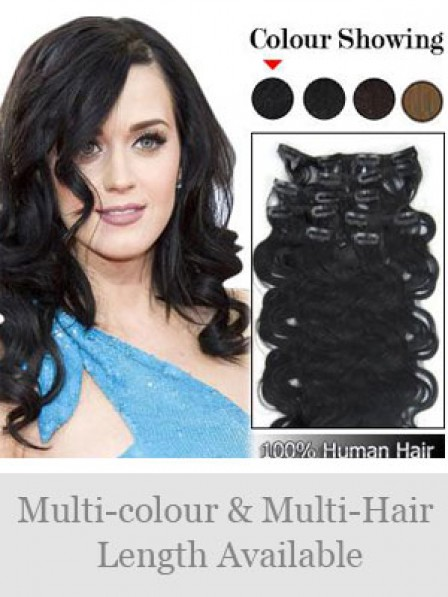 "14"" Wavy Black 100% Human Hair Clip In Hair Extensions"