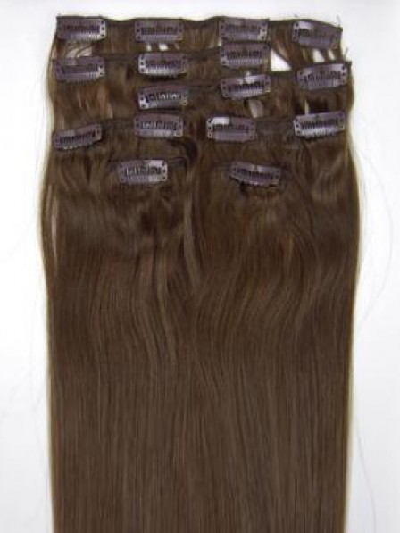 "14"" Straight Brown 100% Human Hair Clip In Hair Extensions"