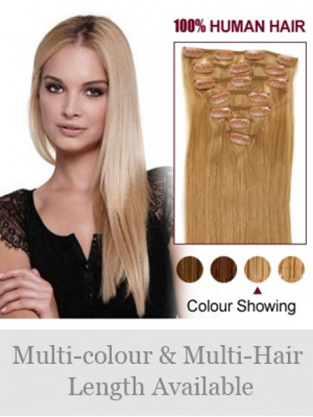 """14"""" Straight Blonde 100% Human Hair Clip In Hair Extensions"""