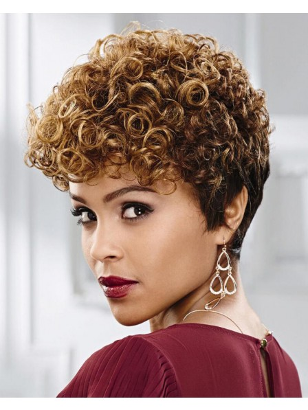 Fresh Playful Crop-Style Wig With Short Curly