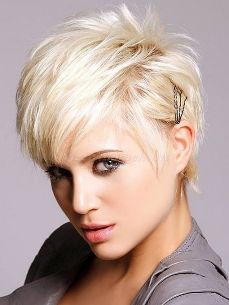 Full Lace Mono Top Short Straight Blonde Wigs With Bangs