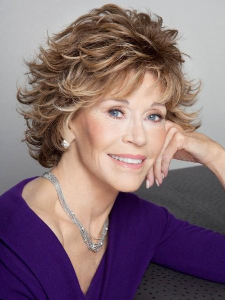 Jane Fonda Shaggy Cut Culry Synthetic Hair Wig