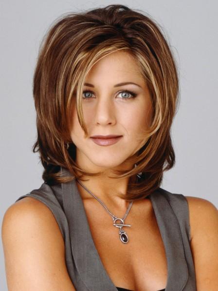 Jennifer Aniston Shoulder Length Light Borwn Human Hair Capless Wig