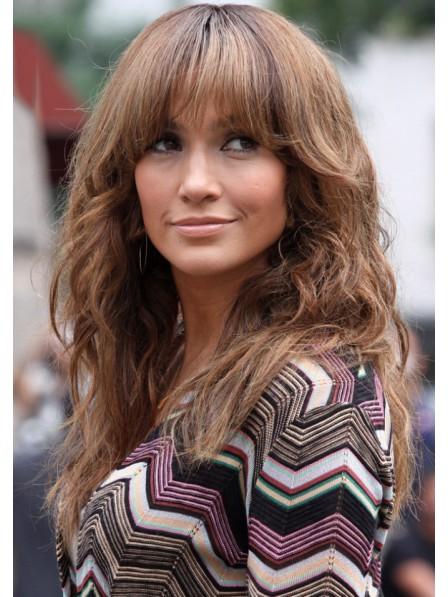 Jennifer Lopez Long Human Hair Wig with Bangs