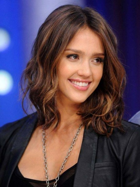Jessica Alba Light Brown Middle Part Lace Front Synthetic Hair Wig