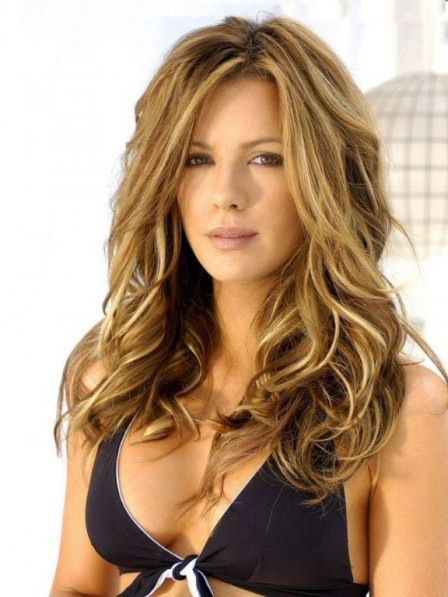 Kate Beckinsale Lace Front Synthetic Long Hair Wig
