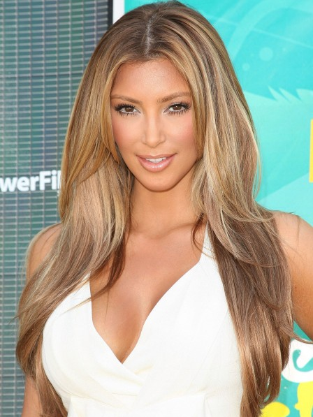 Kim Kardashian Human Hair Long Straight Wig