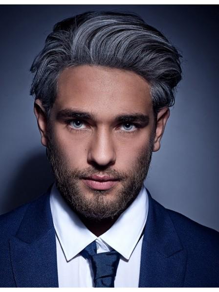 Lace Front Cap Short Men\'s Grey Hair Wigs