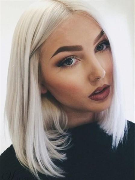 Lace Front Shoulder Length White Blonde Bob Cut Wig Middle Part