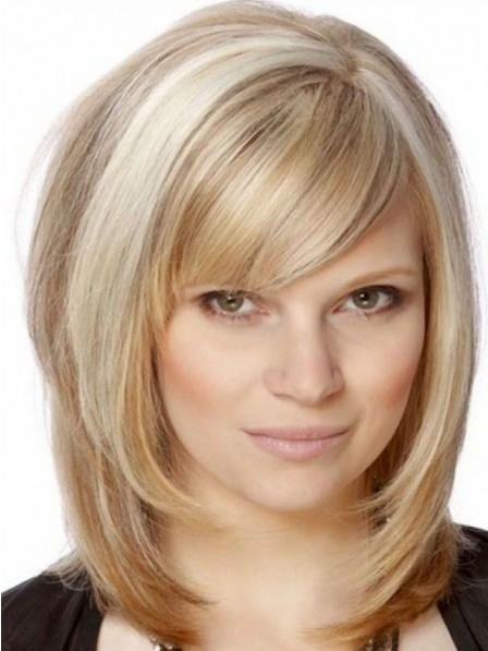Ladies Shoulder Length Blonde Straight Hair Wig With Side