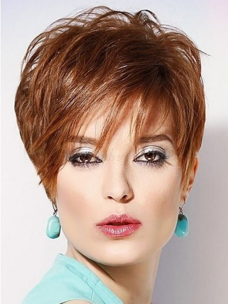 Layered Full Lace Monofilament Pixie Cut Wigs Real Hair For Ladies