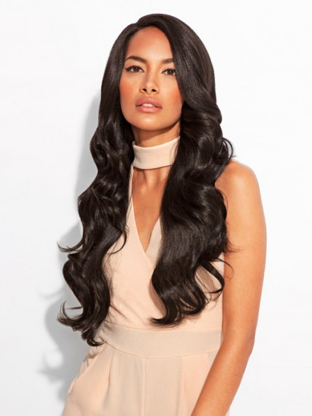 Lustrous cool women's long synthetic hair body wavy lace front wig