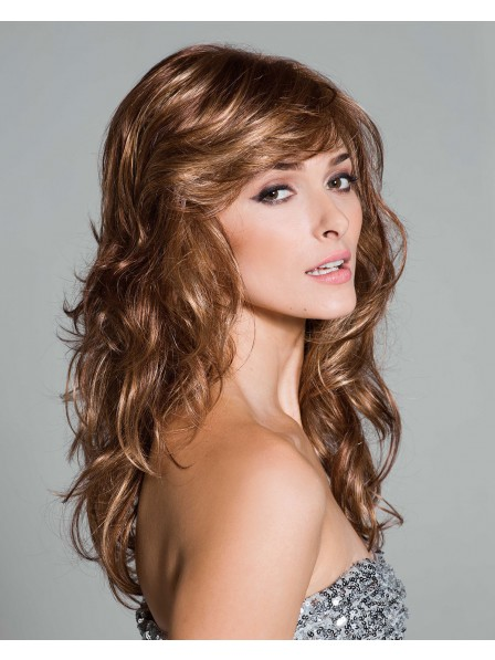 Luxurious look long wavy synthetic hair wig
