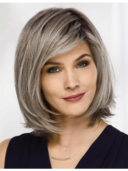 mid length straight bob lace front grey hair wig  rewigs