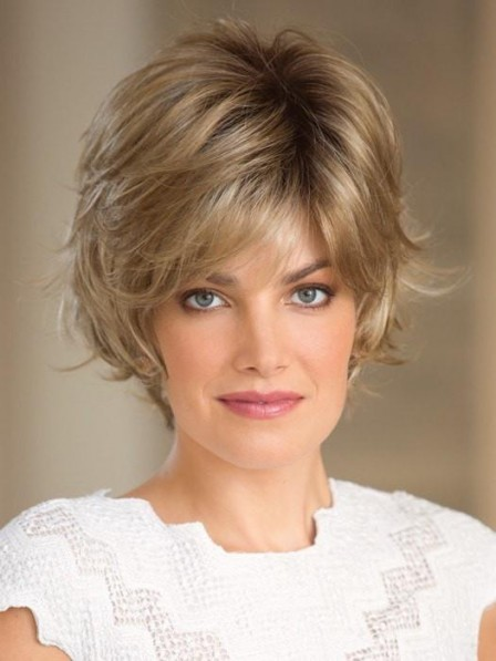 Modern Textured Short Synthetic Hair Wig Lace Front Mono