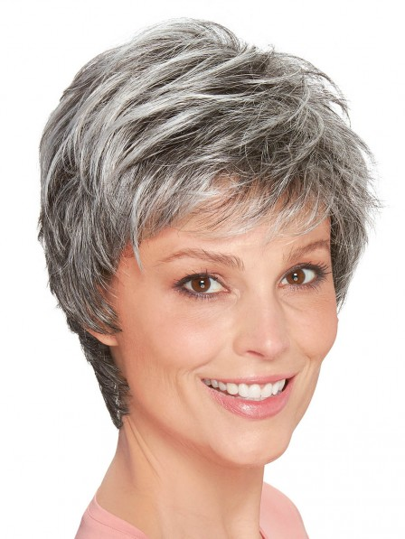 Mono Top Hand Tied Full Lace Synthetic Wigs For Old Ladies