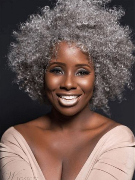 Natural Grey Culry Synethci Hair Wig For Old Black Women