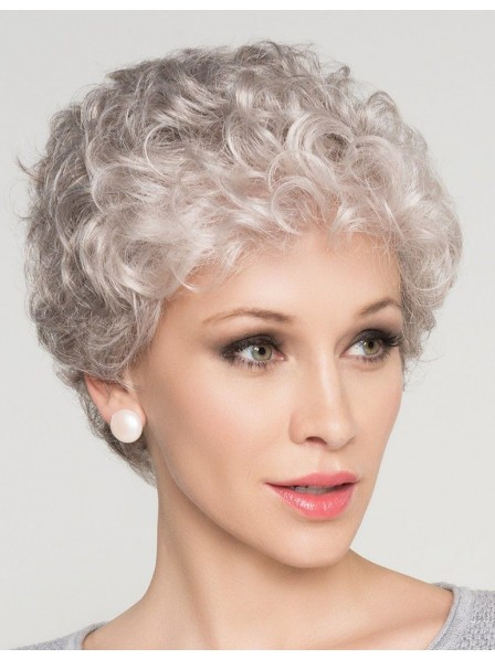 Natural Short Curly Grey Hair Wig For Older Women