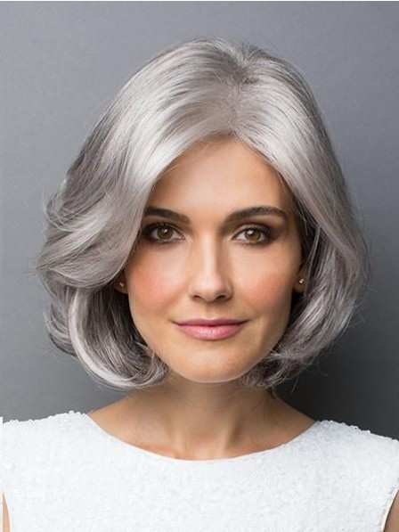 Natural Wavy Bob Style Grey Hair Wig For Women